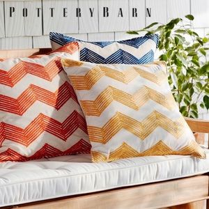 Pottery Barn Zig-Zag Embroidered Pillow Cover